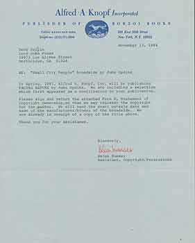 Signed letter from Helen Sumser of Alfred A. Knopf to Herb Yellin of the Lord John Press. Alfred A. Knopf/Helen Sumser.