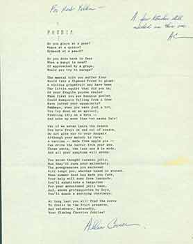 Phobia. A signed poem from poet Allan Covici to Herb Yellin of the Lord John Press. Allan Covici.