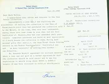 Signed letter from Barbara Schwartz to Herb Yelling of the Lord John Press. Barbara Schwartz.