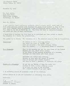 TLS from Eleanor F. Hensel to Herb Yellin of Lord John Press, 11/12/1979. Eleanor F. Hensel.