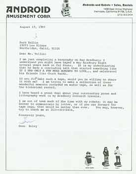 Signed letter from Gene Beley to Herb Yelling of the Lord John Press. Android Amusement Corp./Gene Beley.