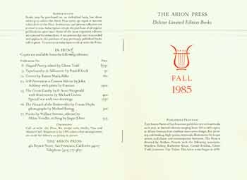 Announcement and publishing program for Fall 1985. The Arion Press.