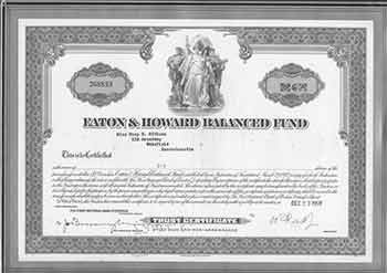 Certificate of 6 Shares of Par Value $1 Each. Eaton, Howard Balanced Fund.