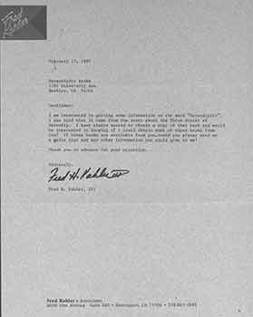 Signed letter from Fred H. Kahler, III of Fred Kahler & Associates to Serendipity Books. Fred Kahler, III Associates/Fred H. Kahler.