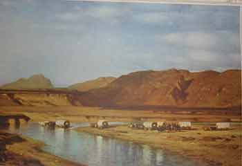 Emigrant Train. Unknown American Artist from, late 19th Century.