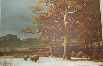 Wilderness scene from Old West with bison and trees. Unknown American Artist from, late 19th Century.