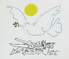 Sun and Dove over Ruins. Pablo Picasso.