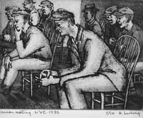 Longshoremen's Union Meeting; [also titled] Union Meeting. Helen Ludwig.