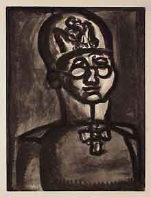 Loin du sourire - Miserere 51. [Far from thesmile of the angel of Reims]. Georges Rouault.
