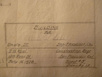 Building Plans for Structure on Davis St., at Corner of Davis St. and Clay St. between Davis and Ceylon St., San Francisco. James H. Hjul.
