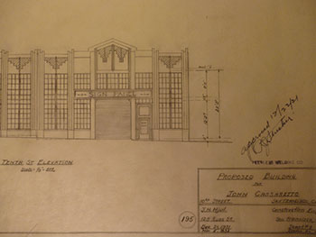 Building Plans and Elevation for a Building for John Cassaretto, owner of John Cassaretto Gravel Co., on 10th St., San Francisco. James H. Hjul.