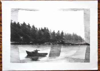 Morning in Maine. [Fishing Boat with trees in backrgound]. Jason Schoener.