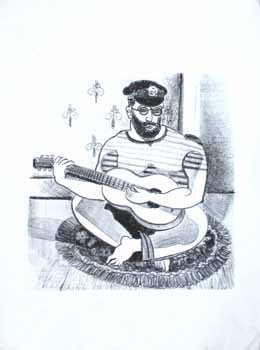 Barefoot guitar player with eyeglasses, beard and military style hat. Jason Schoener.
