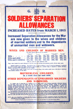 Soldiers' Separation Allowances. Increased Rates from March 1, 1915. Poster No. 72. Parliamentary Recruiting Committee.