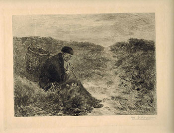 Peasant with basket, resting. Max Liebermann, After.