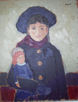 Girl with Black Beret holding a Doll (with Woman with Red Hair in Profile 51-0606). John Payne.