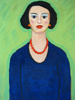 Lady in Blue Dress with Red Necklace and Orange Earrings. John Payne.