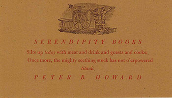 Serendipity books invitation to a banquet in 1997 peter howard serendipity books invitation to a banquet in 1997 stopboris Images