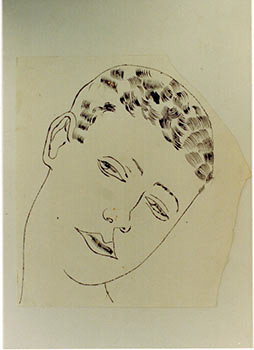 Untitled, 1956 [Male portrait], Photograph of a work by Warhol. With Photocopy of Certificate of Authenticity. Andy Warhol, Frederick W. Hughes, Executor.