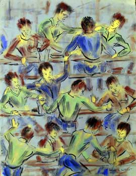 Three Rows of Students in Motion. Julian Chapman Wright.