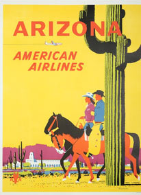 Arizona. American Airlines. First edition poster. Signed. Fred Ludekens.