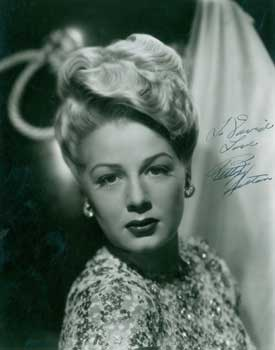 Signed and inscribed Photograph of Betty Hutton. Betty Hutton.