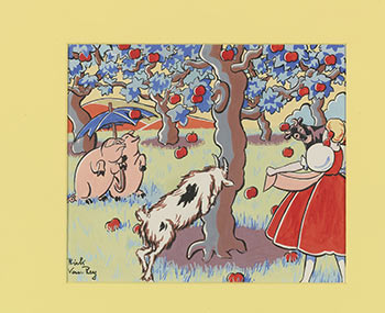 """Bo-Peep in the Apple Orchard with her Pigs and Billy Goat. Oskar Hauenstein, """"Rick Van Rey"""", born 1883."""