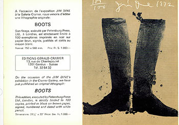 Boots. (Prospectus for the lithograph). Jim Dine, artist.