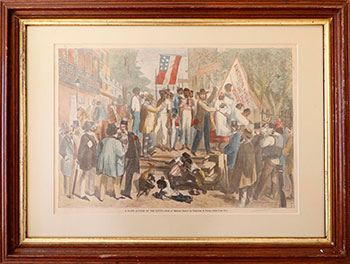 A Slave Auction at the South from an original sketch by Theodore R. Davis. Theodore R. Davis.