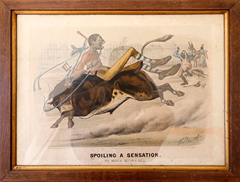 Spoiling a Sensation. The Bicycle Boy on a Bull. Thomas Worth.