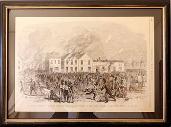 A sketch Showing a Riot at Detroit, Michigan. - An Attack on the Negro Houses in Beaubien Street. Pictorial War Record Artist, Civil.