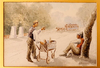 Negro Ice Cream Vendor in a Park in Washington, D.C. with Horse drawn street car in the background. Bruenerly, Benenrly, G.