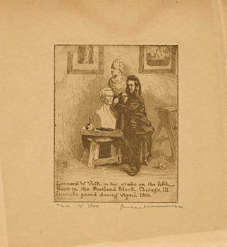 Portrait of Leonard W. Volk sculptng his bust of Abraham Lincoln in 1860. Bernhardt Wall.