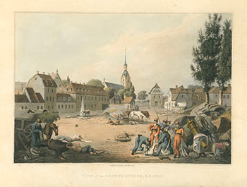View of the Grimma Suburb, Leipsic (Leipzig) (Napoleonic Wars), Original printing. Robert Bowyer.