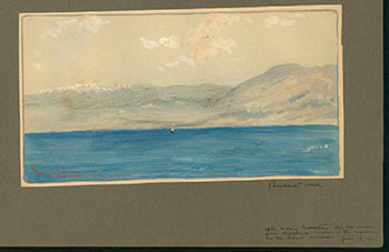 View of the Sierra Nevada Mountains in Andalucia, Spain from the S.S. Neckar in the Mediterranean Sea in 1907. Bernhardt Wall.