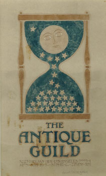 """Original Watercolor Drawing for """"the Antique Guild, . . .Los Angeles."""" Signed. David Lance Goines."""