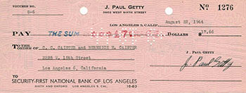 Check signed by J. Paul Getty to C.C. Caister and Berenice Caister, Los Angeles. J. Paul Getty.