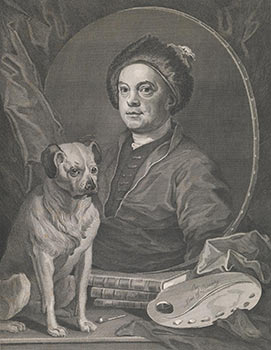 Gulielmus Hogarth. (Half-length self-portrait as mirror image over - outside of the oval - folios with his dog Trump and palette, enclosed by drapery as a symbol of the mysterious reflecting upon the mirror.). William Hogarth, After., Thomas Cook, c.