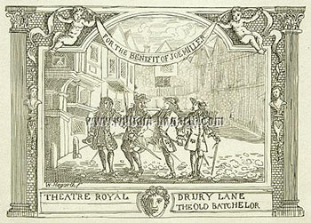 For the Benefit of Joe Miller. Theatre Royal. Drury Lane. The Old Batchelor. William Hogarth, After. Engraved Formerly attributed to Joseph Sympson Jr, active British.
