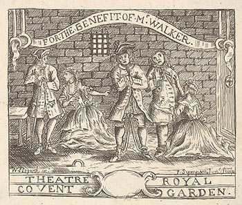 THEATRE ROYAL / COVENT GARDEN. For the Benefit of Mr. Walker. Stage scene. William Hogarth, After. Engraved Formerly attributed to Joseph Sympson Jr, active British.