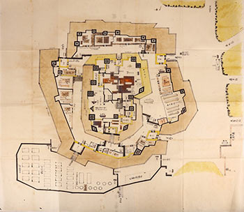 Manuscript plan of Osaka Castle,Japan, pen and black ink, with watercolor on nine sheets. Japanese School.