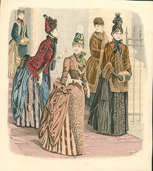 "A collection of 24 handcolored fashion plates ""Latest Paris Fashions"" in ""The Queen. The Lady's Newspaper and Court Chronicle."" Isabelle Toudouze, Adolf Karl Sandoz, A. Chaillot, Guido Gonin, born 1845, artists."