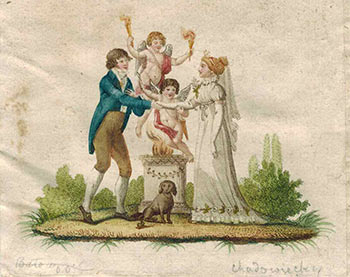 Man and woman shaking hands with 2 putti and one dog. Daniel Niklaus Chodowiecki, 1726 - 1801.