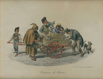 Venditore di Arance. (Orange Vendors) Original lithograph. Gaetano Dura.