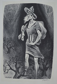 Johnny Appleseed. Signed lithograph. William Gropper.