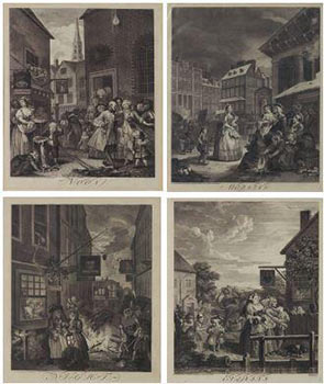 The Four Times of Day. Set of 4 engravings. William Hogarth.