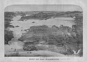 Bird's-eye view of the City of San Francisco and surrounding country. George H. Goddard, artist Britton, British, lithographer Snow Rey, Roos, active ca. 1852-ca. 1853, active.