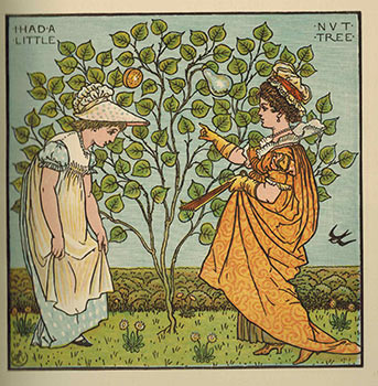 Walter Crane's Picture Book. Comprising the Baby's Opera, the Baby's Bouquêt, and the Baby's own Aesop. With the Original Designs in Colour. Printed by Edmund Evans. First edition. Walter Crane.