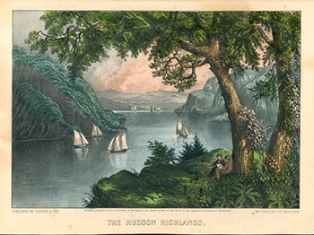 The Hudson Highlands. Original lithograph by Currier & Ives. First edition. Currier, Ives.