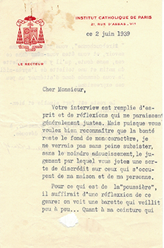 Autograph letter from Alfred Baudrillart to Vincent to Jacques Des Roches, (pseudonym of Jean-Gabriel Vacheron). Alfred Baudrillart, writer, recipient Jacques Des Roches, Jean-Gabriel Vacheron.
